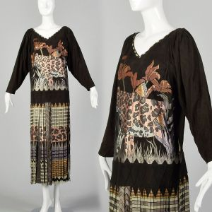 XL Suede Leather Dress 1980s Fringe Leopard Wild Cat Long Sleeve