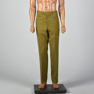 Small 1960s Mens Green Flat Front Pants Adjustable Belted Waist Straight Leg Pockets Zip Fly