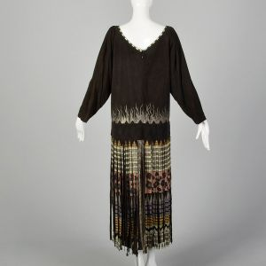 XL Suede Leather Dress 1980s Fringe Leopard Wild Cat Long Sleeve - Fashionconstellate.com