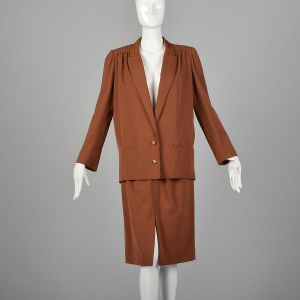 Small 1980s Valentino Boutique Skirt Suit Brown Orange Vented Back Jacket