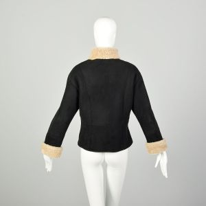 Medium 2000s Coat Black Shearling Double Breasted Winter - Fashionconstellate.com