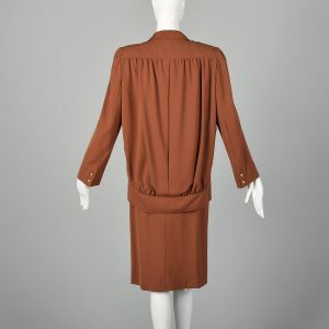 Small 1980s Valentino Boutique Skirt Suit Brown Orange Vented Back Jacket  - Fashionconstellate.com