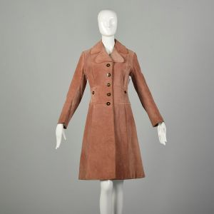 Small 1970s Jacket Brown Leather Bohemian Suede Hippie Trench Coat