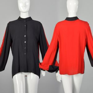 Large 1990s Black Top Red Color Blocked Long Sleeve Blouse Sheer Chiffon Button Up Shirt