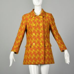 Small 1960s Via Veneto Wool Jacket Double Breasted Orange Autumn Outerwear