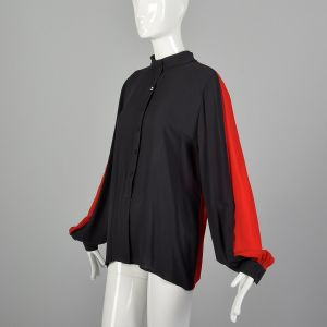Large 1990s Black Top Red Color Blocked Long Sleeve Blouse Sheer Chiffon Button Up Shirt - Fashionconstellate.com