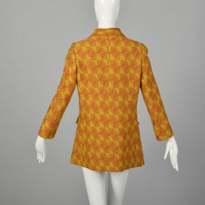 Small 1960s Via Veneto Wool Jacket Double Breasted Orange Autumn Outerwear - Fashionconstellate.com