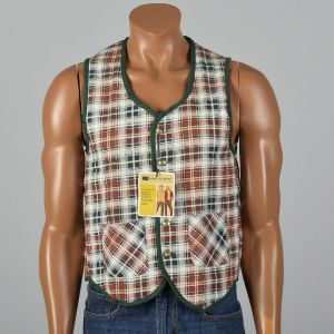 Small 1960s Mens Vest Red White Green Flannel Plaid Quilted Lining