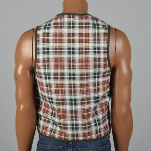 Small 1960s Mens Vest Red White Green Flannel Plaid Quilted Lining  - Fashionconstellate.com