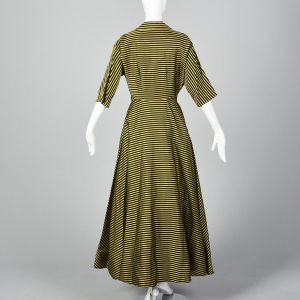 XS 1950s Striped Dressing Gown Pockets Pleated Full Skirt Button Front Yellow Black Stripes Long - Fashionconstellate.com
