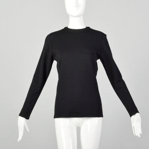 Small 1980s Gianni Versace Black Jersey Knit Top Long Sleeve Wool Shirt