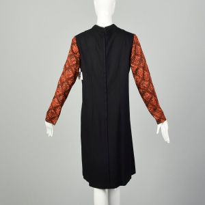 XL 1960s Lattice Print Shift Dress Color Block Black Rust Long Sleeve - Fashionconstellate.com