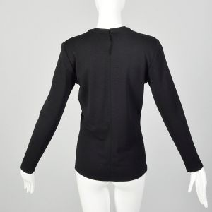 Small 1980s Gianni Versace Black Jersey Knit Top Long Sleeve Wool Shirt - Fashionconstellate.com