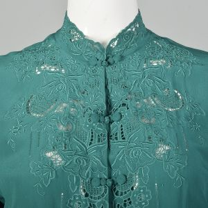 Medium 1960s Green Blouse Long Sleeve Top Bohemian Silk Lace Button Up Top - Fashionconstellate.com