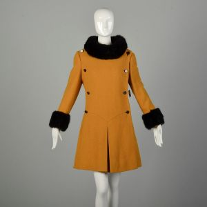 Small 1960s Coat Mustard Double Breasted Military Mod Winter Fur
