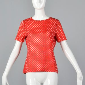 Medium 1970s Top Red and White Polka Dot Short Sleeve Casual Shirt