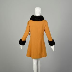 Small 1960s Coat Mustard Double Breasted Military Mod Winter Fur - Fashionconstellate.com