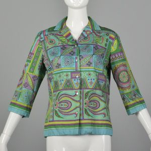 Large 1960s Top 3/4 Sleeve Button Front Geometric Print Colorful Spring Summer Pink Green Aqua Shirt
