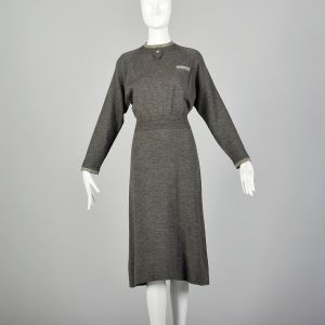 Medium 1950s Modest Gray Knit Dress Contrasting Trim Ribbed Waist - Fashionconstellate.com