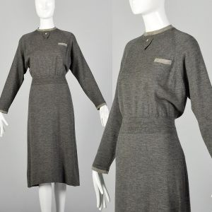 Medium 1950s Modest Gray Knit Dress Contrasting Trim Ribbed Waist