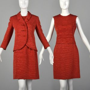 XS 1960s Harrods Skirt Suit Bright Red Three Piece Formal Business Set