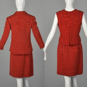 XS 1960s Harrods Skirt Suit Bright Red Three Piece Formal Business Set - Fashionconstellate.com