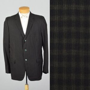 Large 1950s Mens Blazer Black Check Three Button Single Vent Casual Sportscoat Jacket