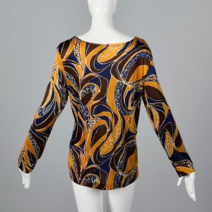 Large 1970s Top Blue Yellow and Brown Psychedelic Print Knit Long Sleeve Shirt - Fashionconstellate.com