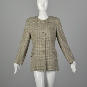 Medium 1990s Valentino Miss V Gray Cream Blazer Tweed Plaid Long Sleeve Jacket