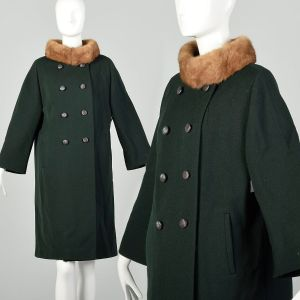 Medium 1960s Coat Green Wool Real Fur Collar Double Breasted Winter
