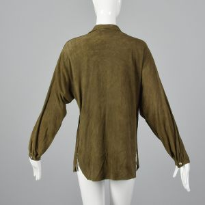 Medium 1980s Green Suede Leather Boho Top Long Sleeves Button Front Shirt  - Fashionconstellate.com