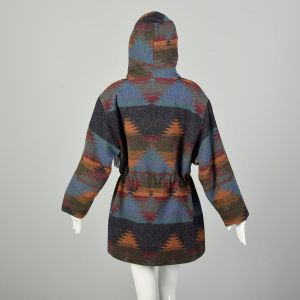 Large 1990s Blanket Coat Hooded Southwestern Winter Outerwear - Fashionconstellate.com