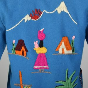XXS 1950s Jacket Teal Blue Mexican Souvenir Tourist Wool Embroidery Horseshoe Sombrero Village - Fashionconstellate.com
