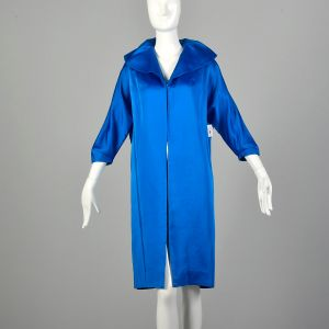 Small 1950s Clutch Coat Blue Satin Bracelet Cuffs Batwing Sleeves Wide Collar