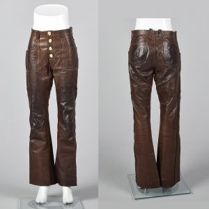XS 1970s Unisex Brown Leather Pants Antler Button Boho Bell Bottoms