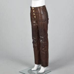XS 1970s Unisex Brown Leather Pants Antler Button Boho Bell Bottoms - Fashionconstellate.com