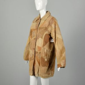 Large 1990s Vintage Patchwork Leather Coat with Fleece Lining  - Fashionconstellate.com