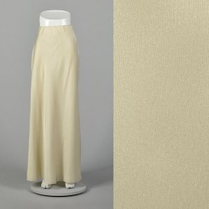 XS 1980s Mary McFadden Maxi Skirt Ivory Formal Evening Winter White Wedding Bridal Separate