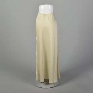 XS 1980s Mary McFadden Maxi Skirt Ivory Formal Evening Winter White Wedding Bridal Separate - Fashionconstellate.com