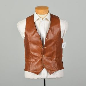 Small 1970s Vest Brown Soft Leather and Satin Bohemian
