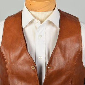 Small 1970s Vest Brown Soft Leather and Satin Bohemian - Fashionconstellate.com