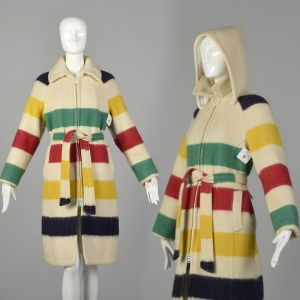 Medium 1970s Coat Hudson Bay Company Blanket Coat Wool Cream Striped Hooded Quilted Lined Outerwear