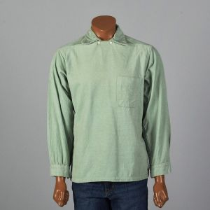 Medium 1950s Mint Green Corduroy Shirt Long Sleeve Neck Button Detail Straight Bottom Pocket