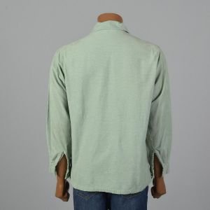 Medium 1950s Mint Green Corduroy Shirt Long Sleeve Neck Button Detail Straight Bottom Pocket - Fashionconstellate.com