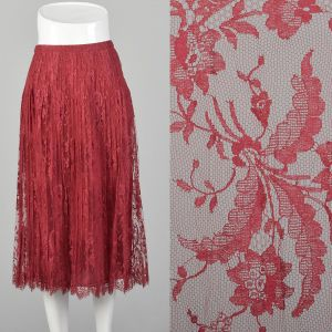 Small 1970s André Laug for Audrey Hepburn Skirt Red Lace Pleated Scallop Hem Designer Midi