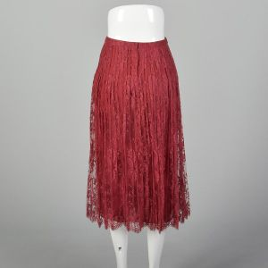Small 1970s André Laug for Audrey Hepburn Skirt Red Lace Pleated Scallop Hem Designer Midi  - Fashionconstellate.com