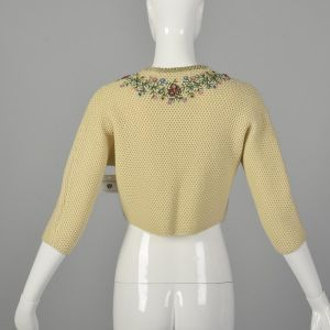 XS 1950s Beige Cropped Cardigan Sweater with Hand Embroidered Beading and Velvet Trim  - Fashionconstellate.com