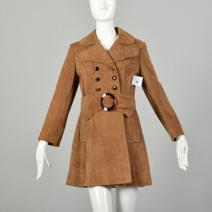 Small 1960s Coat Suede Leather Mod Trench Double Breasted Jacket