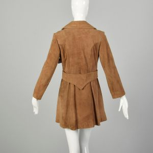 Small 1960s Coat Suede Leather Mod Trench Double Breasted Jacket  - Fashionconstellate.com