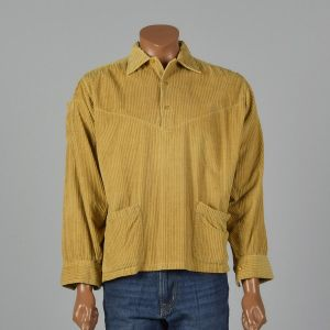XXL 1950s Gold Rockabilly Shirt Wide Wale Corduroy Pullover Yellow Patch Pocket Long Sleeve